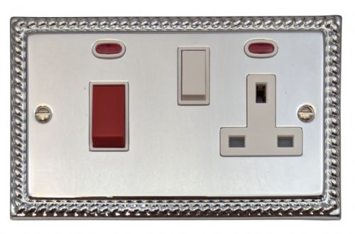 G&H MC29W Monarch Roped Polished Chrome 45 Amp DP Cooker Switch & 13A Switched Socket